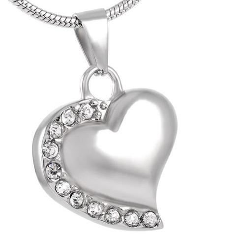 Heart With Stones stainless steel memorial cremation pendant