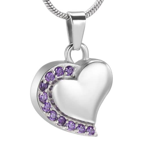 Heart With Stones stainless steel memorial cremation pendant, purple