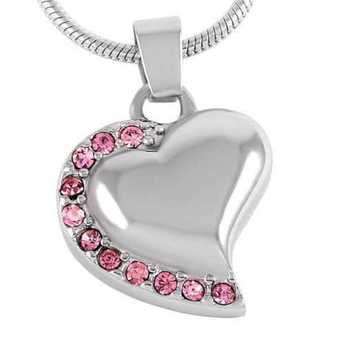 Heart With Stones stainless steel memorial cremation pendant, pink
