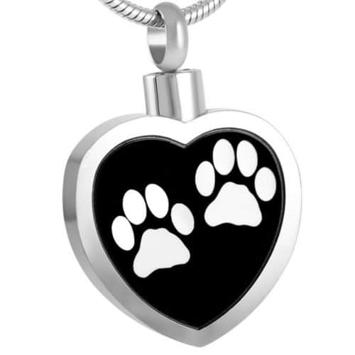 Heart With Two White Paw Prints Cremation Pendant, Stainless Steel