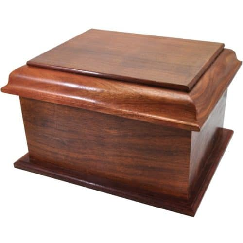 Large stately wood cremation urn