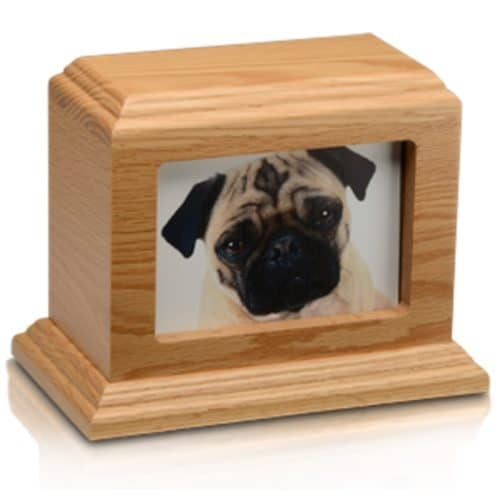 "3 x 5"" Photo Frame oak wood pet memorial cremation urn"