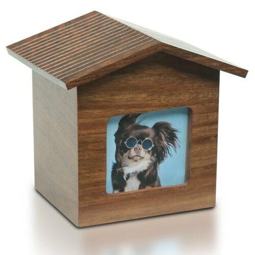 Rosewood dog house photo holder pet memorial urn