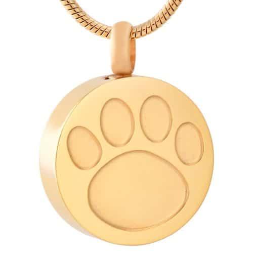 Pet memorial cremation pendant with paw print design, round shape, stainless steel, gold color