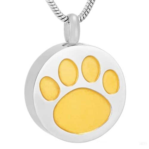 Pet memorial cremation pendant with paw print design, round shape, stainless steel, gold color paw print