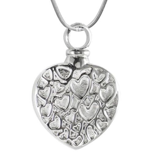 Heart With Little Hearts Memorial Cremation Pendant, Stainless Steel