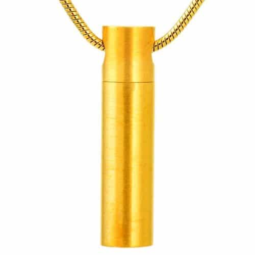 Stainless steel cylinder cremation memorial jewelry pendant, gold color