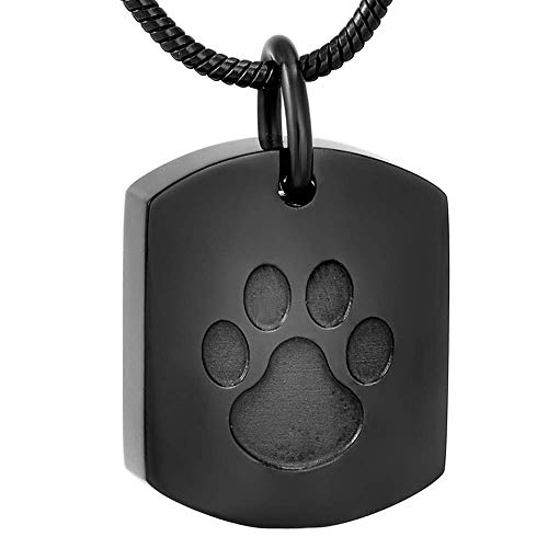 Black dog tag pet memorial cremation pendant in stainless steel