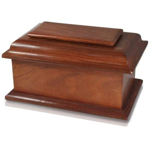 Stately wood cremation urn
