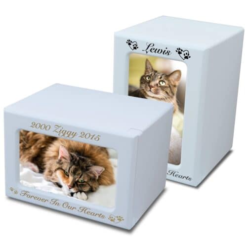 MDF wood memorial pet photo urn, white finish, engraved, horizontal & vertical