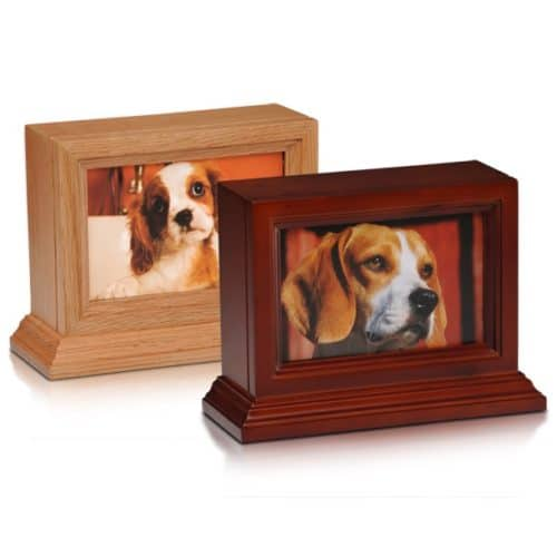 "4 x 6"" photo holder wood pet memorial urn in oak or cherry"