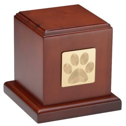 Wood Cube pet memorial cremation urn, cherry finish, with paw print plate