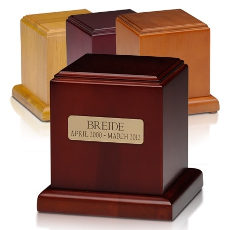Wood Cube pet memorial cremation urns, three finishes available