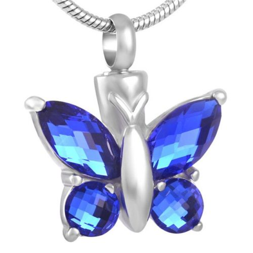 Butterfly with blue stones memorial cremation pendant