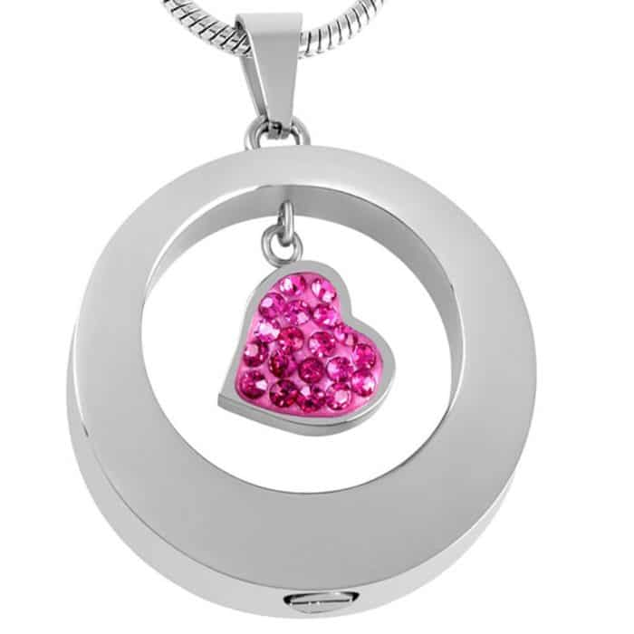 Stainless steel cremation jewelry memorial pendant - circle with small pink stone, alt view