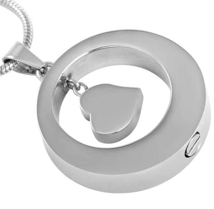 Stainless steel cremation jewelry memorial pendant - circle with small pink stone, back view