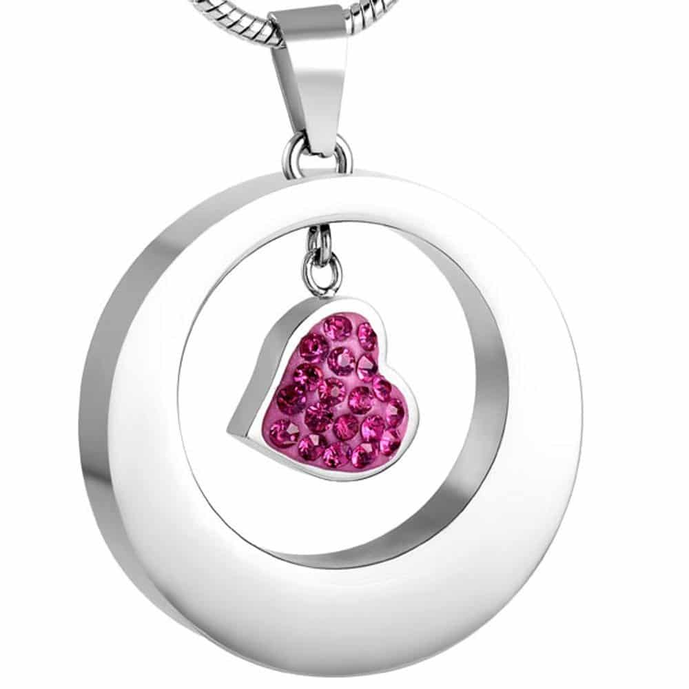 Stainless steel cremation jewelry memorial pendant - circle with small pink stone