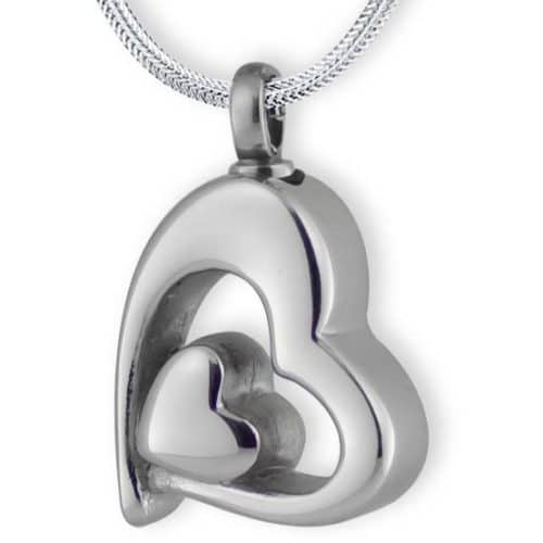 Double heart memorial urn cremation pendant, stainless steel