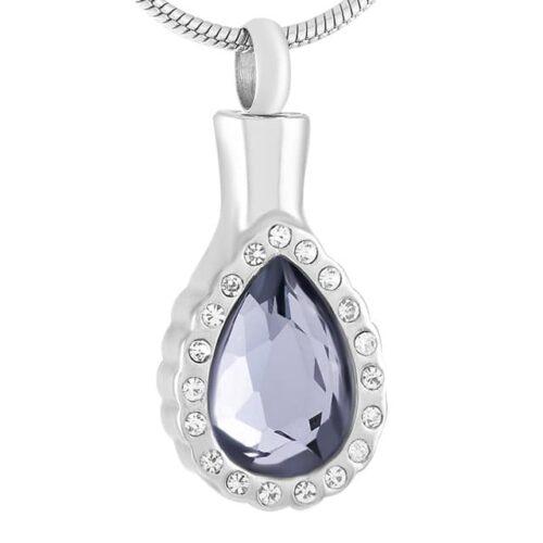 Elegant teardrop stainless steel memorial cremation pendant, smoky blue stone