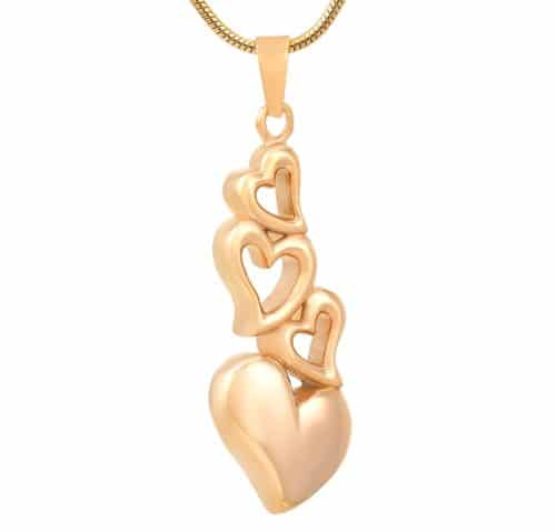Four hearts stainless steel memorial cremation keepsake pendant, gold color