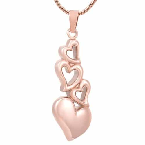 Four hearts stainless steel memorial cremation keepsake pendant, rose gold color
