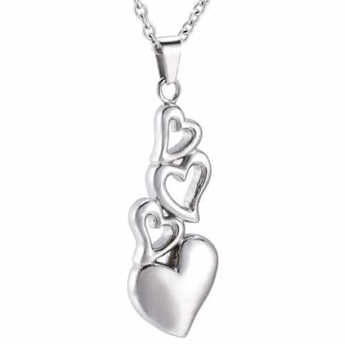 Four hearts stainless steel memorial cremation keepsake pendant