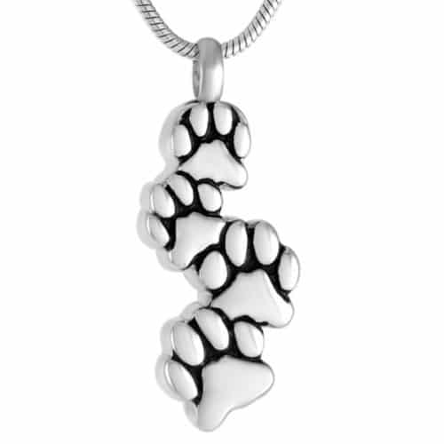 Four paw prints pet cremation memorial pendant, stainless steel