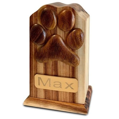 Hardwood dog or cat memorial cremation urn with paw print