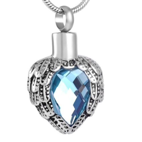 Heart with angel wings memorial cremation pendant, light blue stone