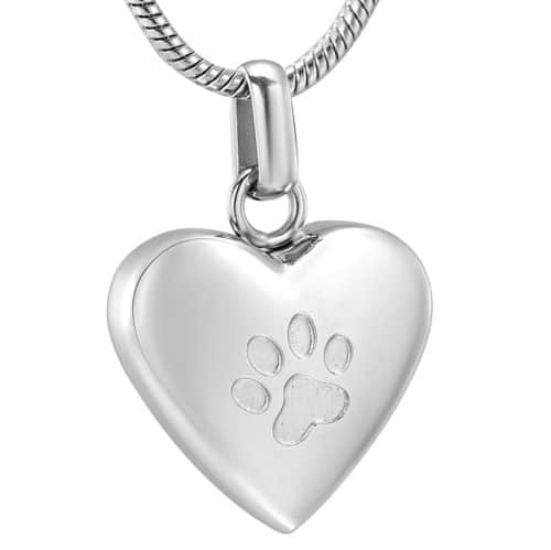 Stainless steel heart with paw print pet cremation memorial pendant