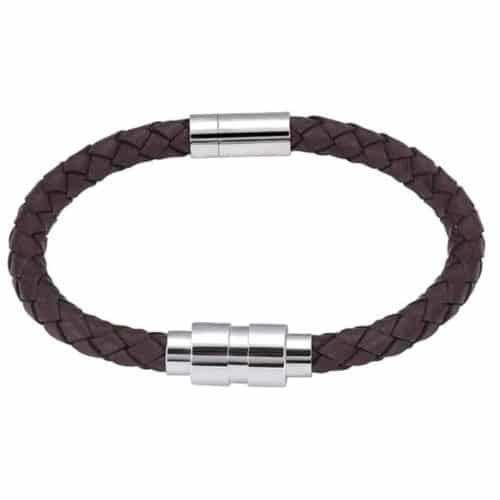 brown leather memorial cremation bracelet, braided