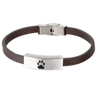 brown leather memorial cremation bracelet with paw print, smooth