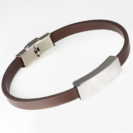 brown leather memorial cremation bracelet, smooth