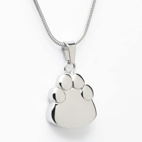 Paw print pet memorial cremation pendant, stainless steel