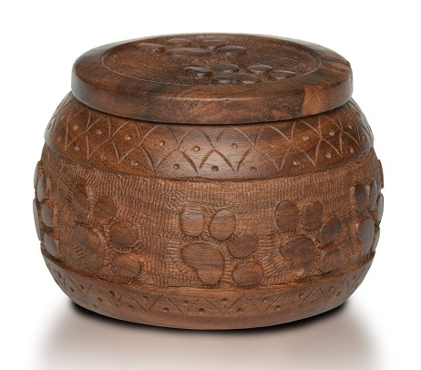 Rosewood memorial cremation jar urn with hand carved paw prints, up to 15 pounds