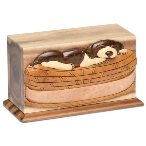 Sleeping dog hardwood memorial cremation urn