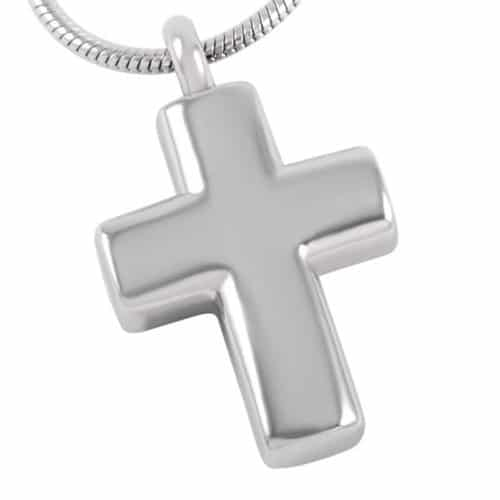 Small cross memorial cremation pendant, stainless steel