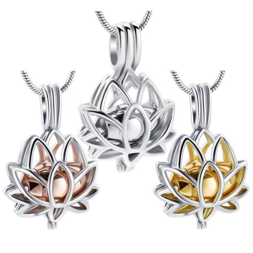 Lotus Flower locket stainless steel memorial cremation urn pendant, all colors