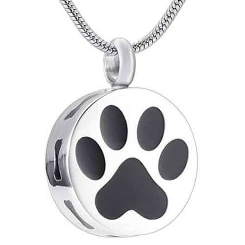 Paw Print & Bones stainless steel pet memorial urn cremation pendant