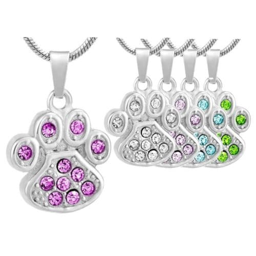Paw Print With Stones pet memorial cremation urn pendant, all colors