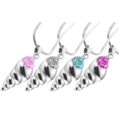 Shell with stones stainless steel memorial cremation urn pendant, all colors