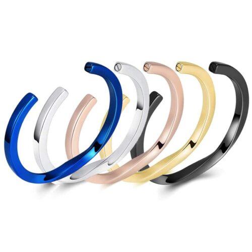 Stainless steel Bangle With Twist memorial keepsake bracelet