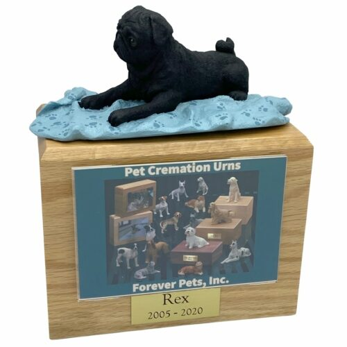 Black Pug dog photo holder memorial cremation urn