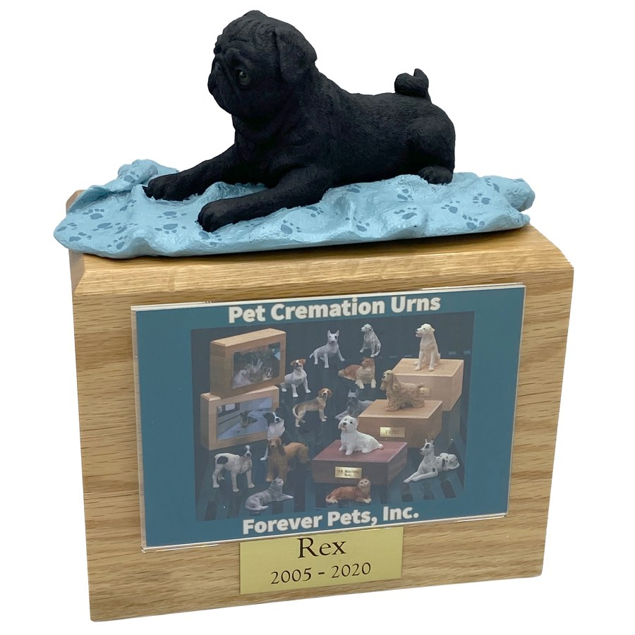 Black Pug dog photo holder memorial cremation urn