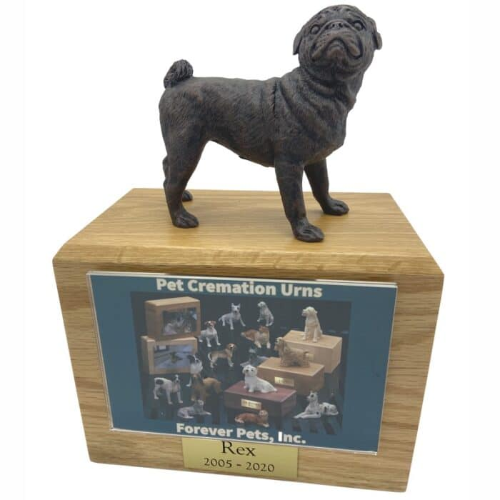 Pug dog bronze look figurine memorial cremation pet urn