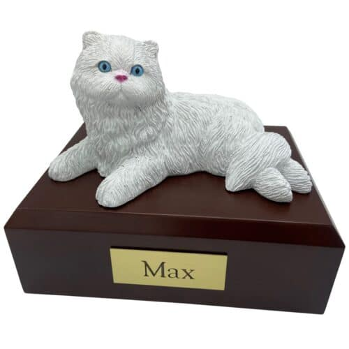 Persian, white, laying, cat memorial cremation funeral urn
