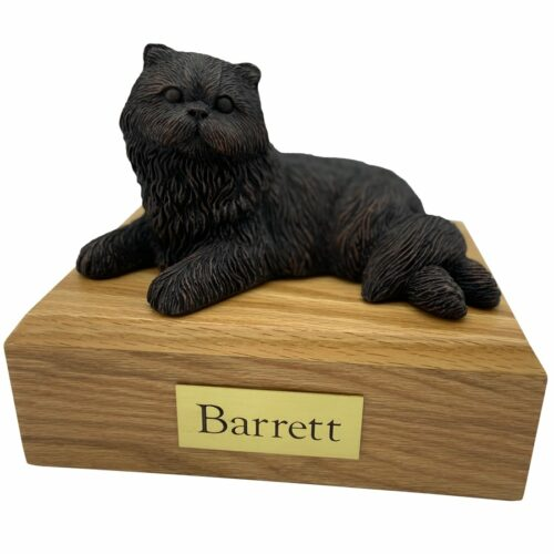 Persian, bronze look, laying, cat memorial cremation funeral urn