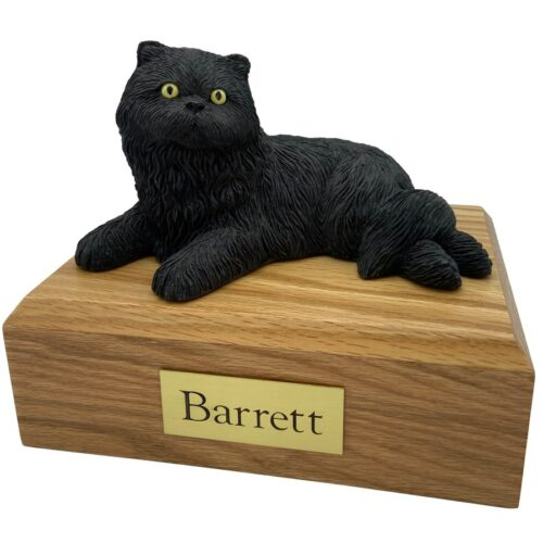 Persian, black, laying, cat memorial cremation funeral urn