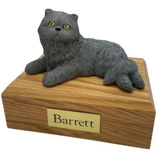 Persian, gray, laying, cat memorial cremation funeral urn