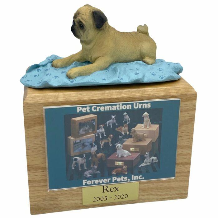 Tan pug dog photo holder memorial cremation urn